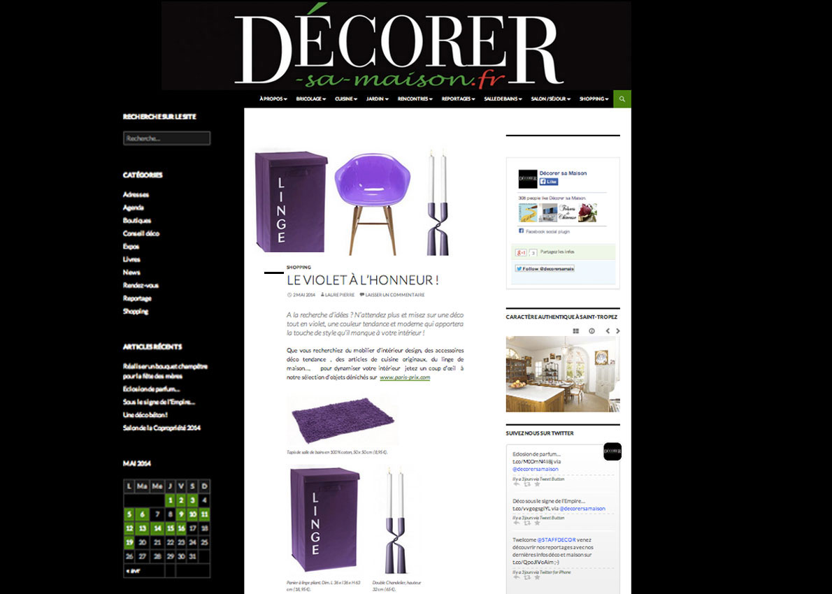 paris pr sent sur le site d corer sa maison. Black Bedroom Furniture Sets. Home Design Ideas