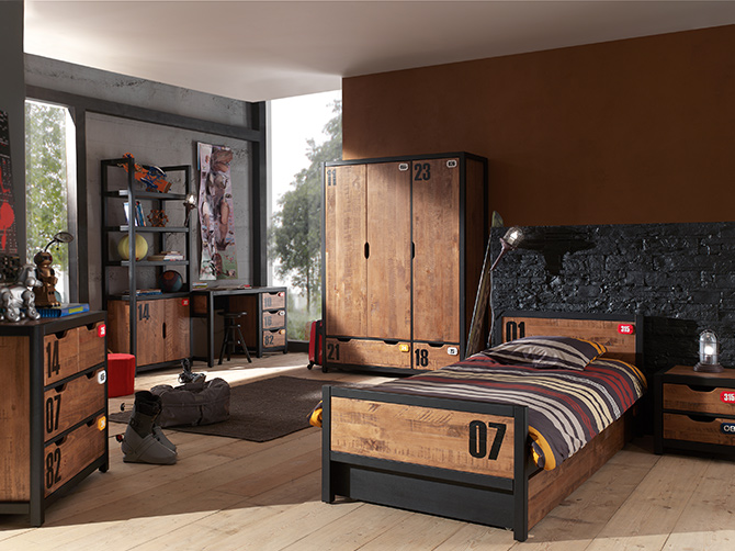 chambre ado style industriel 05685336 terrasse en bois. Black Bedroom Furniture Sets. Home Design Ideas