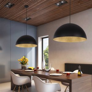 "Lampe Suspension Design ""Tuba"" 50cm Noir & Or"